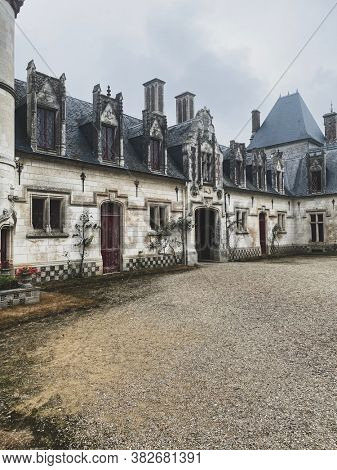 Prestigious New Gothic castle of Regniere-Ecluse in the department of Somme in France, in picardy