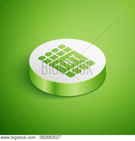 Isometric Detonate Dynamite Bomb Stick And Timer Clock Icon Isolated On Green Background. Time Bomb
