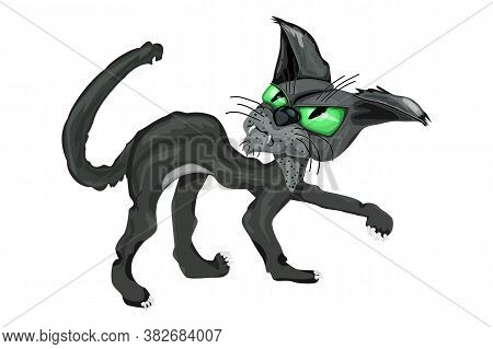 Black Cat Isolated On White Background. Angry Black Cat With Big Green Eyes. Scary Halloween Black C