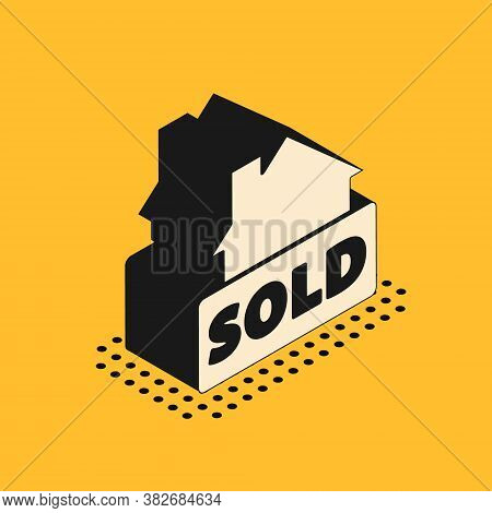 Isometric Hanging Sign With Text Sold Icon Isolated On Yellow Background. Sold Sticker. Sold Signboa