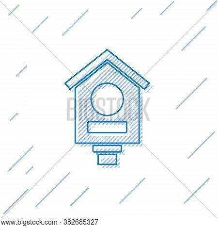 Blue Line Bird House Icon Isolated On White Background. Nesting Box Birdhouse, Homemade Building For