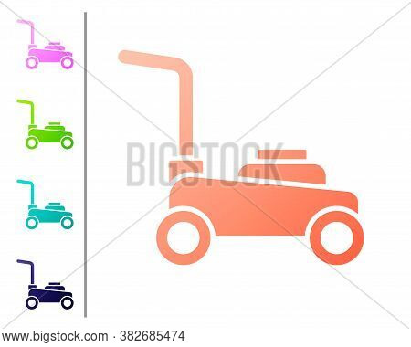 Coral Lawn Mower Icon Isolated On White Background. Lawn Mower Cutting Grass. Set Color Icons. Vecto