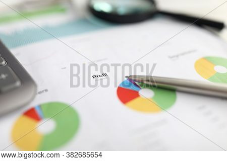 Pen Rests Financial Report, Chart Profit And Loss. Estimation Project Cost Duration, Company Audit.