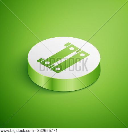 Isometric Wooden Box Icon Isolated On Green Background. Grocery Basket, Storehouse Crate. Empty Wood