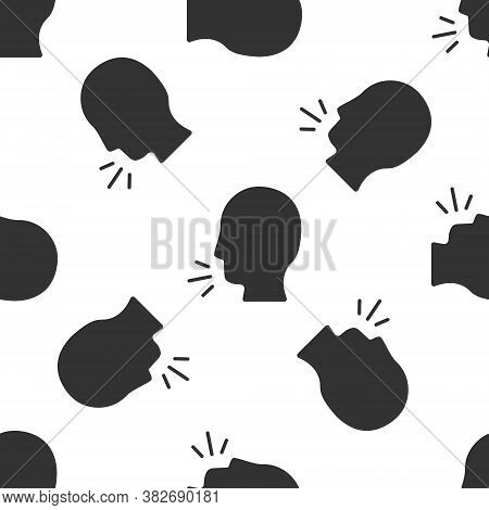 Grey Man Coughing Icon Isolated Seamless Pattern On White Background. Viral Infection, Influenza, Fl