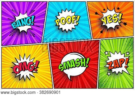 Cartoon Comic Backgrounds Set. Speech Bubble. Comics Book Colorful Poster With Halftone Elements And