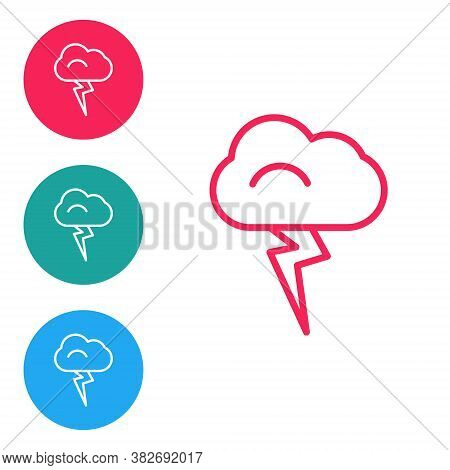 Red Line Storm Icon Isolated On White Background. Cloud And Lightning Sign. Weather Icon Of Storm. S