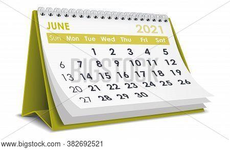 3d Desktop Calendar June 2021 In White Background