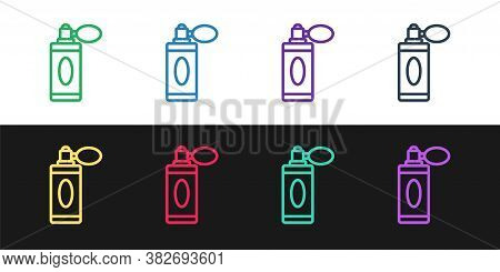 Set Line Aftershave Bottle With Atomizer Icon Isolated On Black And White Background. Cologne Spray