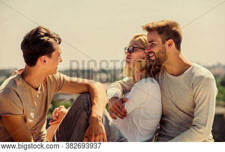 Friends Relaxing On Roof. Carefree Friends. True Friendship. Being Sincere With Closest People. Men