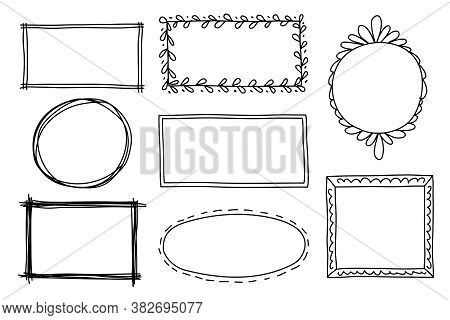 Hand Drawn Set Of Frame, Border With Different Shapes. Vector Illustration Isolated On White. Doodle