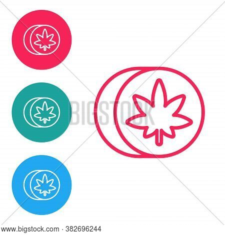 Red Line Herbal Ecstasy Tablets Icon Isolated On White Background. Set Icons In Circle Buttons. Vect