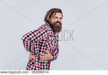 This Is A Terrible Pain. Brutal Bearded Hipster Has Unhealthy Kidney. Male Feel Pain In Back. Casual