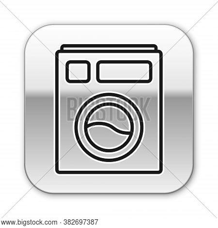 Black Line Washer Icon Isolated On White Background. Washing Machine Icon. Clothes Washer - Laundry