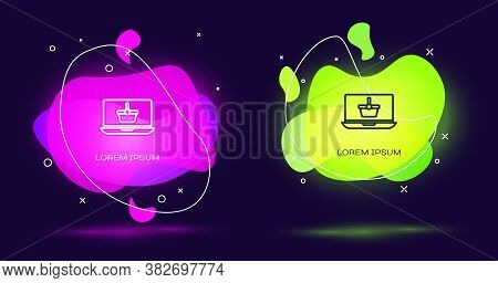 Line Shopping Basket On Screen Laptop Icon Isolated On Black Background. Concept E-commerce, E-busin