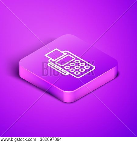 Isometric Line Pos Terminal With Inserted Credit Card And Printed Reciept Icon Isolated On Purple Ba