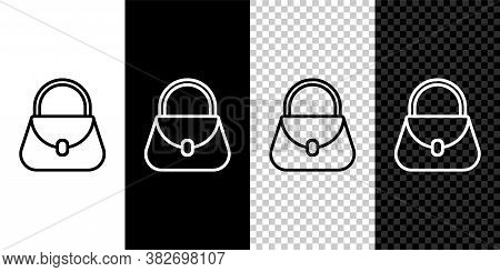 Set Line Handbag Icon Isolated On Black And White Background. Female Handbag Sign. Glamour Casual Ba
