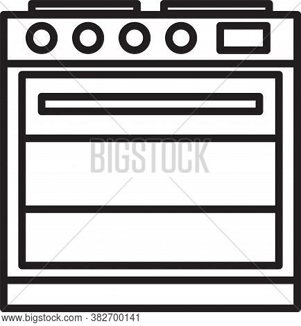 Black Line Oven Icon Isolated On White Background. Stove Gas Oven Sign. Vector Illustration