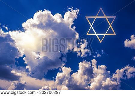 David Star On Blue Sky .  The Beginning Of The Day Of The Jews
