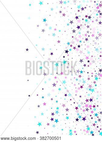 Flying Stars Confetti Holiday Vector In Cyan Blue Violet On White. Christmas Banner Decoration. Cool