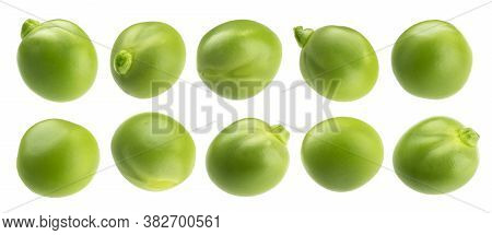 Fresh Green Peas Isolated On White Background