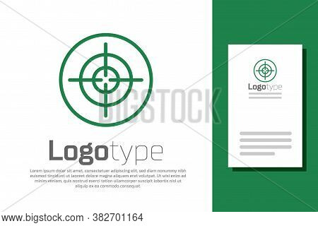 Green Line Target Sport Icon Isolated On White Background. Clean Target With Numbers For Shooting Ra