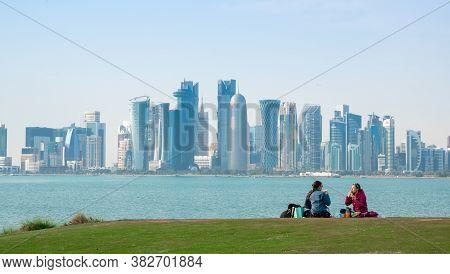 Doha,qatar- March 30 2020: Background Image Of Qatar Capital City. Qatar Landmark