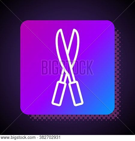 White Line Gardening Handmade Scissors For Trimming Icon Isolated On Black Background. Pruning Shear