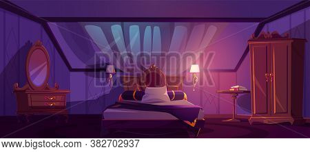 Luxury Bedroom Interior On Attic At Night. Vector Cartoon Mansard Sleeping Room With Bed, Window In