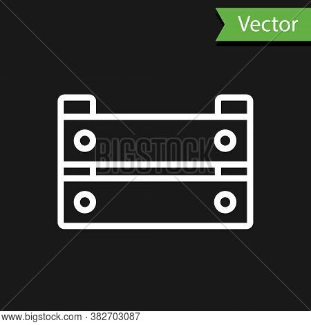 White Line Wooden Box Icon Isolated On Black Background. Grocery Basket, Storehouse Crate. Empty Woo