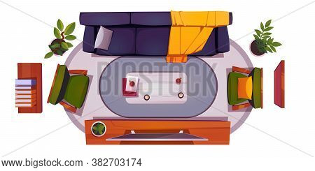 Top View Of Living Room Interior With Sofa, Chair And Tv Screen. Vector Cartoon Set Of Furniture For