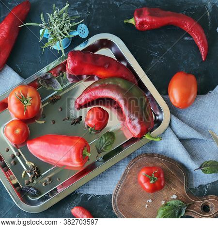 Red Vegetables Tomatoes And Peppers, Spices On The Table, Top View, Healthy Seasonal Food Concept, H