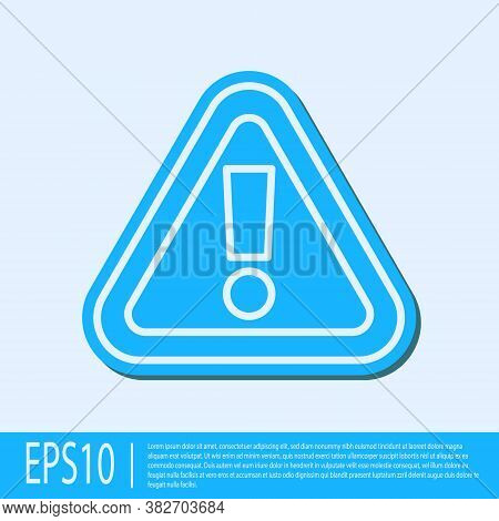 Blue Line Exclamation Mark In Triangle Icon Isolated On Grey Background. Hazard Warning Sign, Carefu
