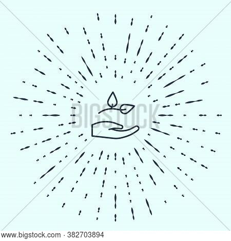 Black Line Leaf In Hand Of Environmental Protection Icon Isolated On Grey Background. Seed And Seedl
