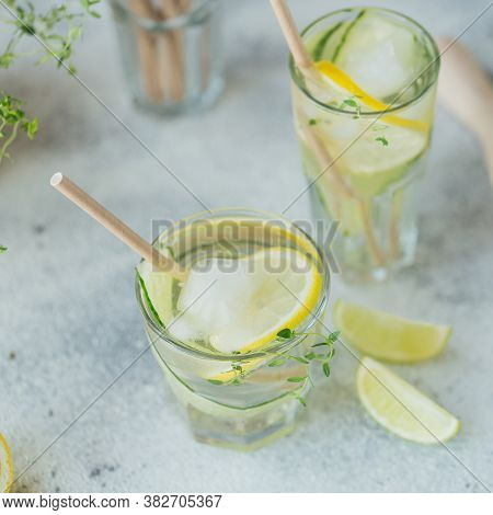 Glass Of Cucumber Soda Drink On Wooden Table. Sassy Water. Summer Healthy Detox Infused Water, Lemon