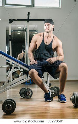 Sitting in gym