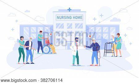 Old Senior People Walking At Nursing Home Outside