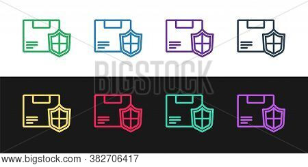 Set Line Delivery Security With Shield Icon Isolated On Black And White Background. Delivery Insuran