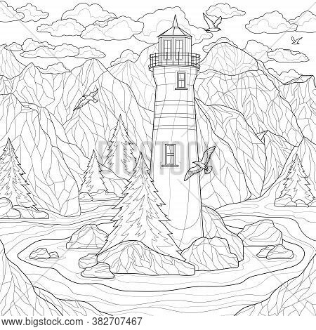 Beautiful Landscape. A Lighthouse On A Background Of Mountains, And Seagulls Flying Around.coloring