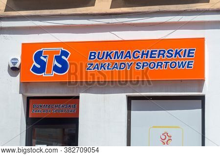Tarnow, Poland - June 13, 2020: Logo And Sign Of Sts Sports Betting Company.