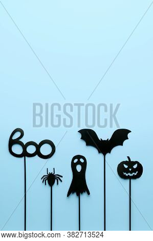 Happy Halloween Day Concept. Top View Halloween Party Objects On Pastel Blue Background. Flat Lay, C