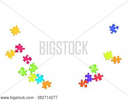 Business Crux Jigsaw Puzzle Rainbow Colors Parts Vector Illustration. Scatter Of Puzzle Pieces Isola