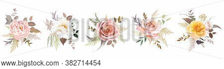 Luxurious Beige Trendy Vector Design Floral Bouquets. Pastel Pink And Mustard Yellow Rose, Blush, Cr