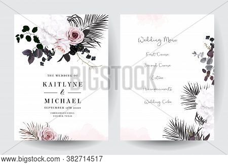 Black And Dusty Pink Flowers Glamour Vector Design Bouquet Frames. Dusty Blush Pink Rose, White Hydr
