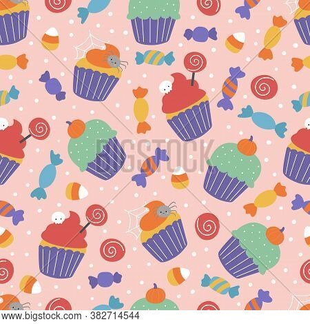 Halloween Seamless Pattern With Sweets. Spooky Cupcakes And Candies On Pink Background. Vector Carto