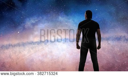 3d Illustration Of The Man Looking At Immense Galaxy - Conceptual Image For Imagination, Inspiration