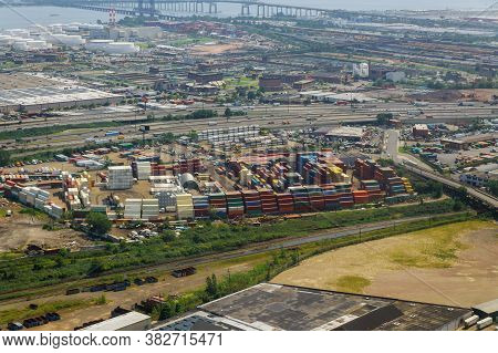 Aerial View Cargo Of Business Logistic Transportation Ocean Freight Transporting Goods On Multiple L