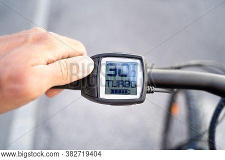 E Bike Computer Speed And Power Control. Electric Bike