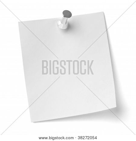 close up of a note paper with push pin on white background with clipping path poster