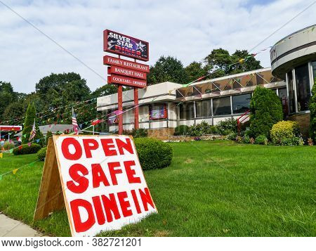 NORWALK, CT, USA-AUGUST 15, 2020: Silver Star diner family restaurant near Post Road with sign during COVI-19